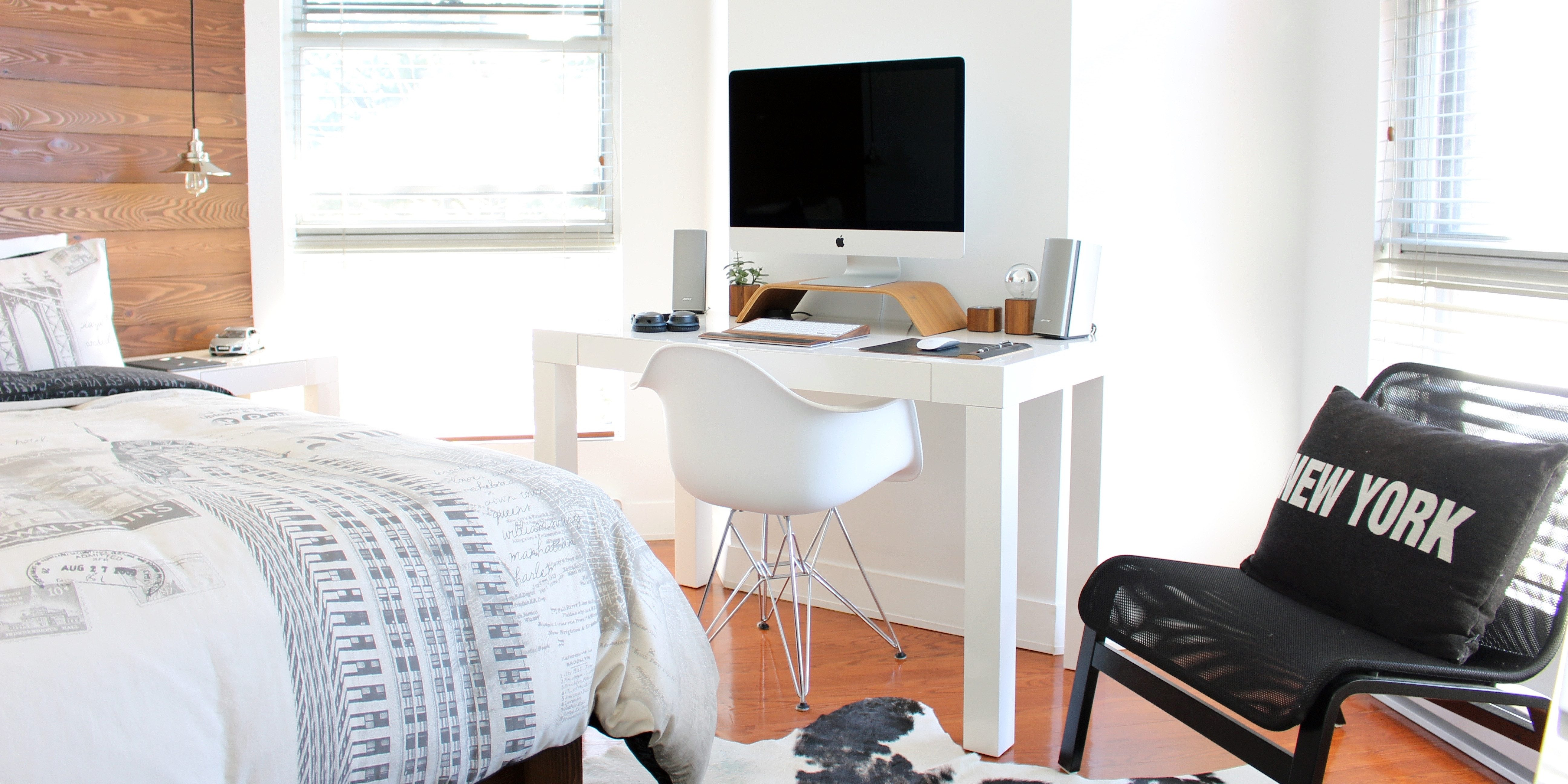 home office bedroom clear of clutter