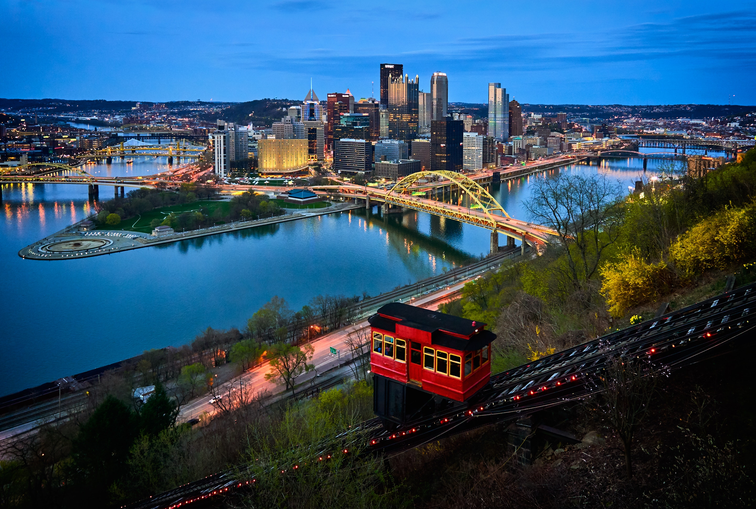 A city view of Pittsburgh from Mt. Washington is a sight unlike any other and very high on our must do list of 50 Things to Do in Pittsburgh This Summer.