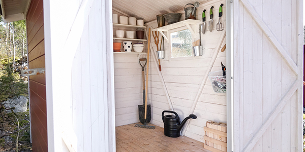 10 Easy Shed Organization Ideas that will help you from crawling and tripping over tools, toys, and outdoor equipment in your shed when looking for what you need.