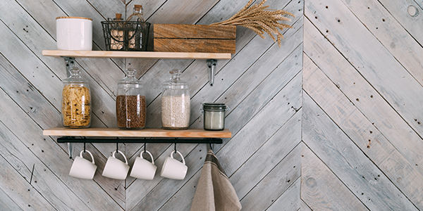 Shelves can be used for more than decor and can help you achieve an organized pantry.